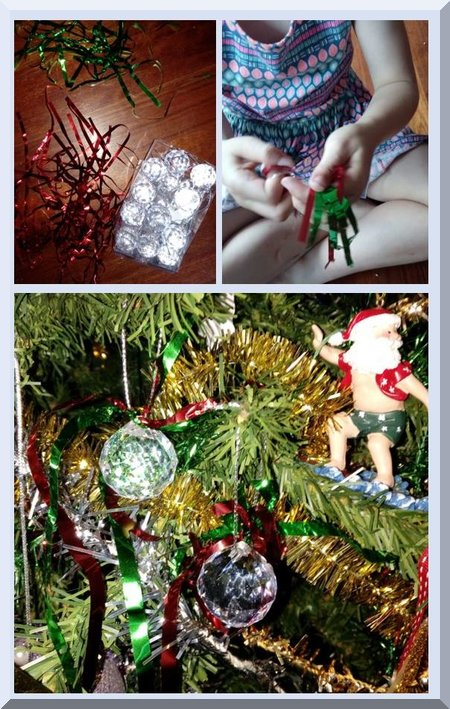 collage of child making shiny Christmas baubles and the baubles in a tree