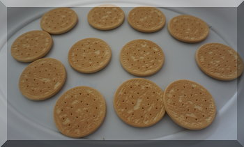 tray f plain biscuits laid out for icing