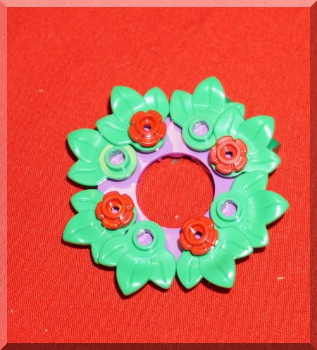 Lego wreath, green leaves, red flowers