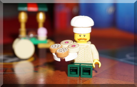 Lego chef with a tray of biscuits
