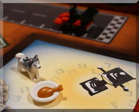 Lego huskie beside a white dish holding a chicken leg