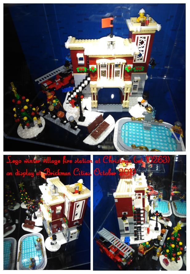 collage of images of Lego village fire station at Christmas
