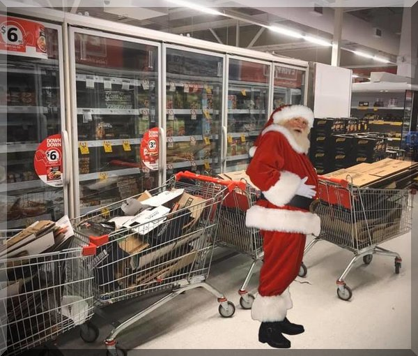 Santa with supermarket trolleys of boxes