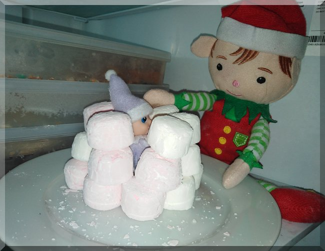Christmas elf making a marshmallow igloo in the freezer