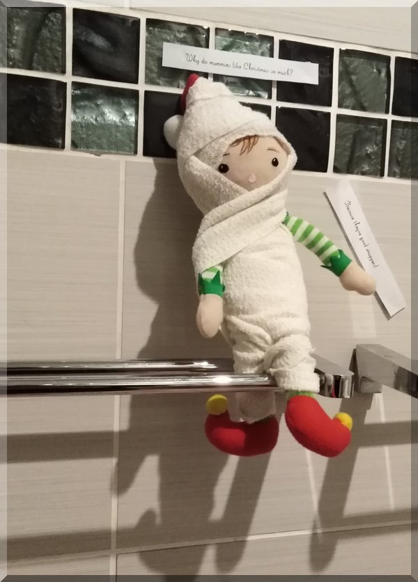 Tinkles the Christmas Elf wrapped as a mummy