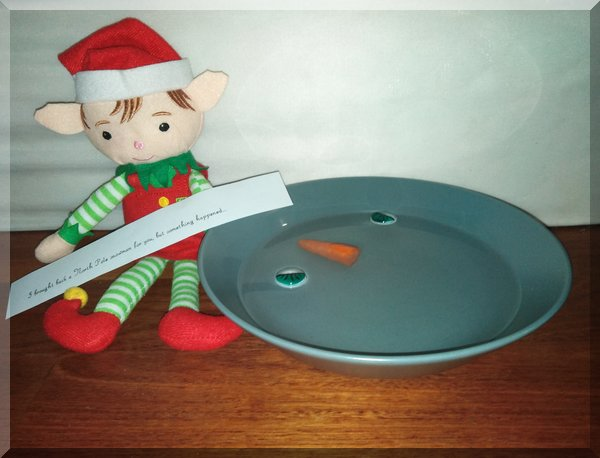 Christmas elf with a bowl of water containing two eyes and a carrot nose