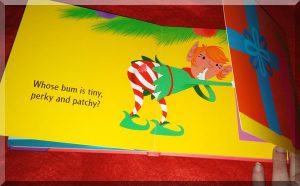 Inner page of whose bum at Christmas showing an elf