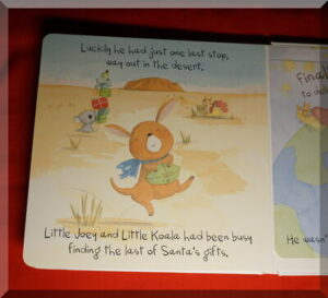 Inside page of a board book called The little reindeer who lost his presents