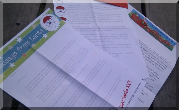 Spread of letters from Love Santa