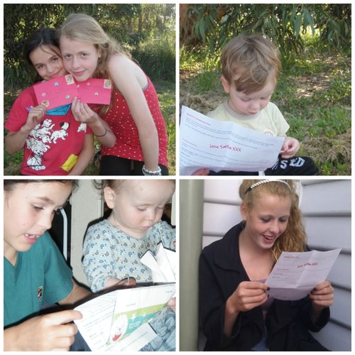Images of children and teens enjoying a letter from Love Santa