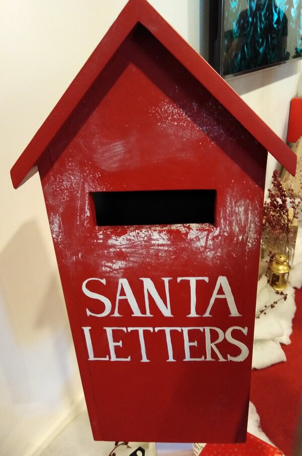 red letterbox labelled Santa letters