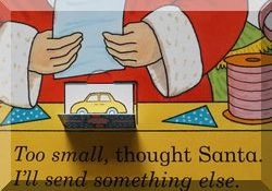 Inisde page of the Dear Santa book, showing Santa's hands and a car behind a flap