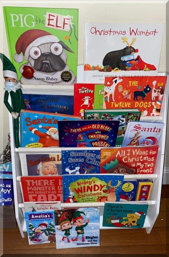 display of Christmas picture books