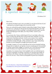 Australian personalised letters from santa image of a sample love santa personalised letter for an aussie child spiritdancerdesigns